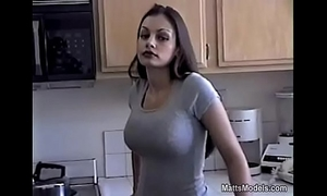 Hot aria giovanni cools off by pouring milk all over her face and bazookas
