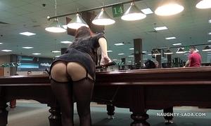 Public flash upskirt in the billiard club
