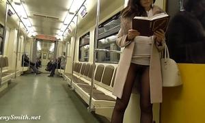 Jeny smith seamless hose subway vagina flash